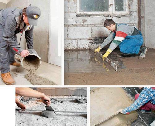 Заливаем «мокрую» цементно-песчаную стяжку